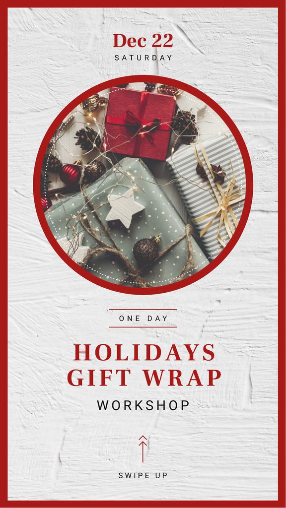 Plantilla de diseño de Workshop Annoucement with Christmas gift boxes Instagram Story