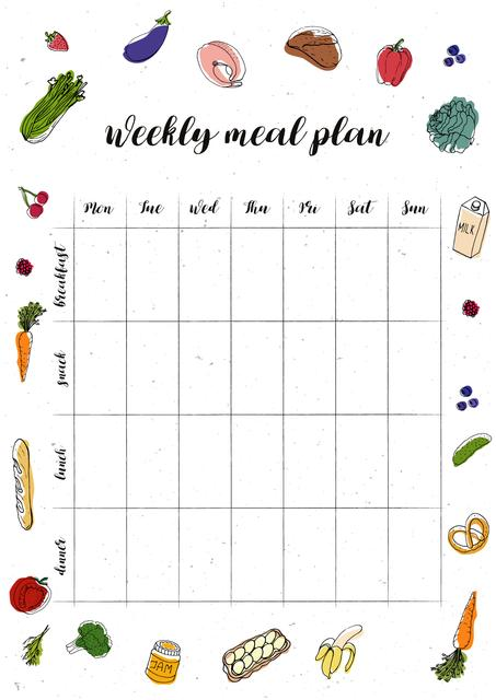 Weekly Meal Plan with Food illustrations Schedule Plannerデザインテンプレート