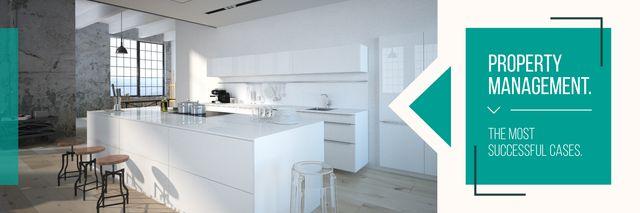 Stylish kitchen interior Twitter Modelo de Design