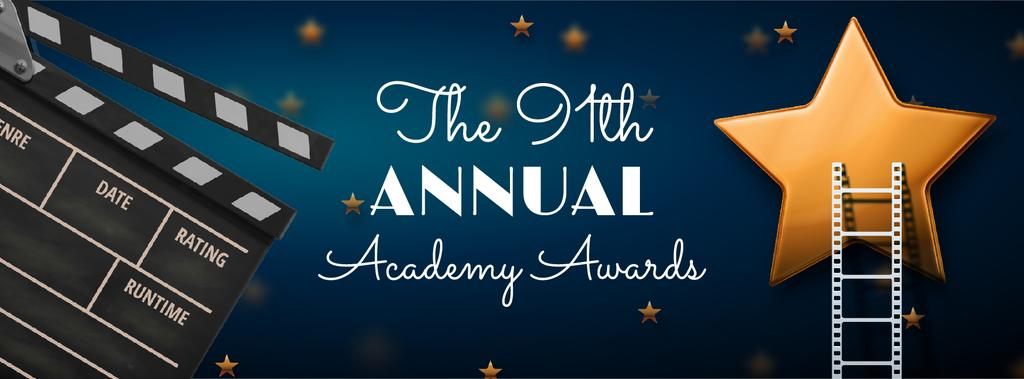 Annual Academy Awards Announcement with Star and Clapper | Facebook Cover Template — Створити дизайн