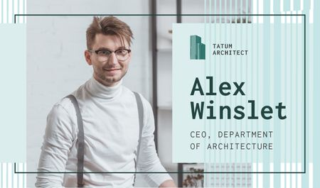 Plantilla de diseño de Architect Contacts with Smiling Man in Office Business card