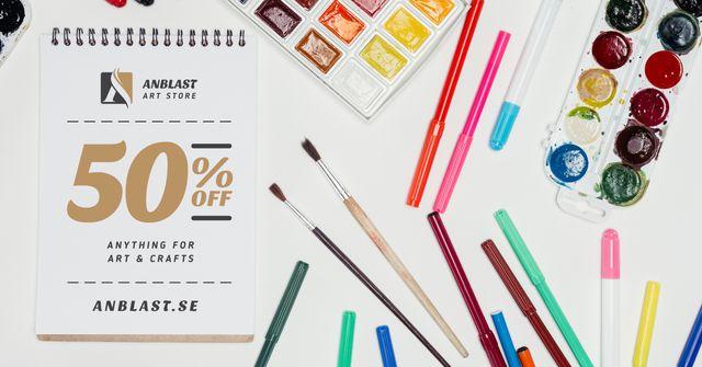 Ontwerpsjabloon van Facebook AD van Art Supplies Sale Colorful Pencils and Paint