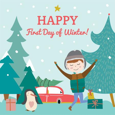 Happy first day of Winter illustration Instagram Design Template