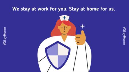 Template di design #Stayhome Coronavirus awareness with Supporting Doctor Full HD video