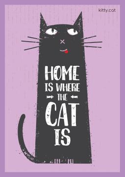 Cat Adoption Quote Funny Cat in Purple | Poster Template