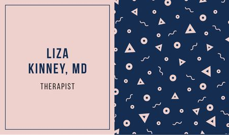 Therapist Ad with Bright Memphis Pattern Business card Modelo de Design