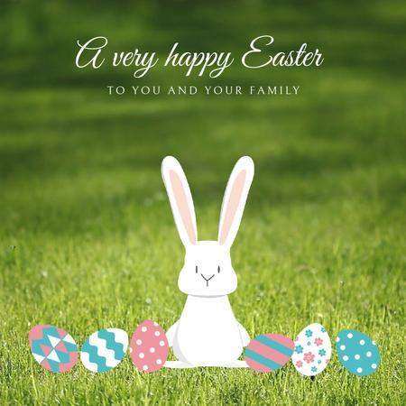 Easter Cute Bunny with Colored Eggs Animated Post Design Template