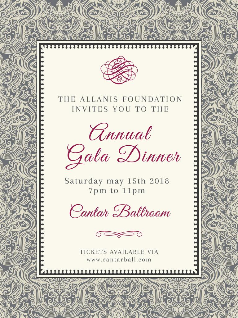 Annual Gala Dinner Announcement in Vintage Pattern — Modelo de projeto