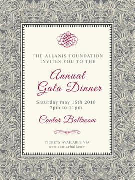 Annual Gala Dinner Announcement in Vintage Pattern | Poster Template