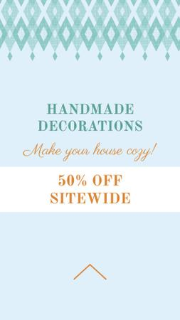 Template di design Handmade decorations sale on Pattern in Blue Instagram Story