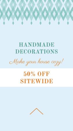 Handmade decorations sale on Pattern in Blue Instagram Story Tasarım Şablonu