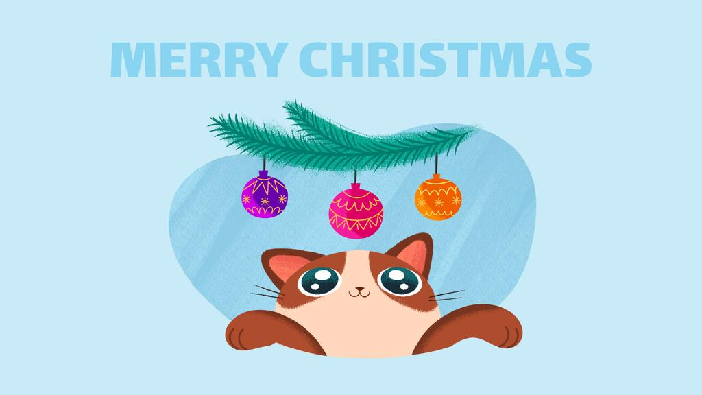 Cat playing with Christmas baubles — Design Template