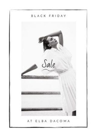 Black Friday Sale Woman wearing White Clothes Flayer Modelo de Design