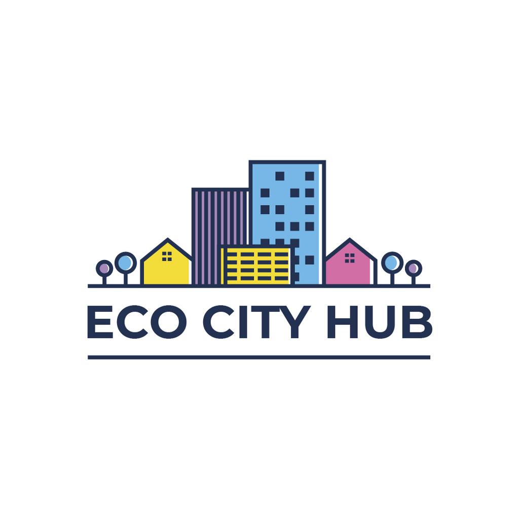 City Hub Buildings on Street Logo Modelo de Design