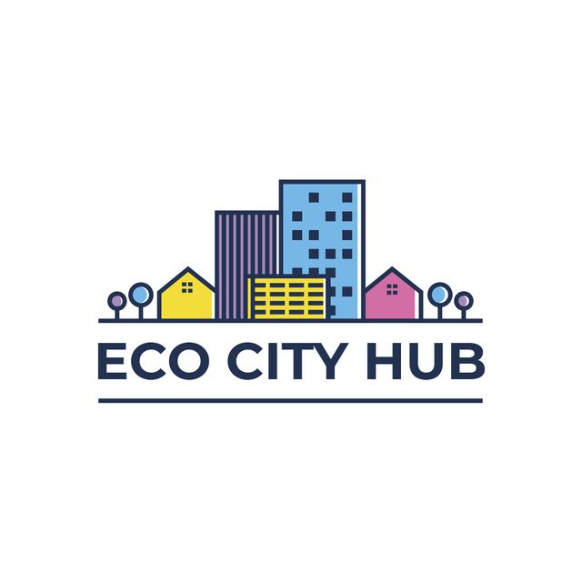 Modèle de visuel City Hub Buildings on Street - Logo