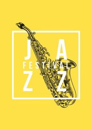Jazz Festival Saxophone in Yellow Flayerデザインテンプレート