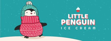 Designvorlage Cute Winter Penguin in Hat für Facebook Video cover