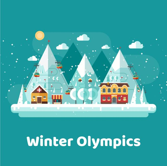 Ontwerpsjabloon van Animated Post van Snowy mountain resort