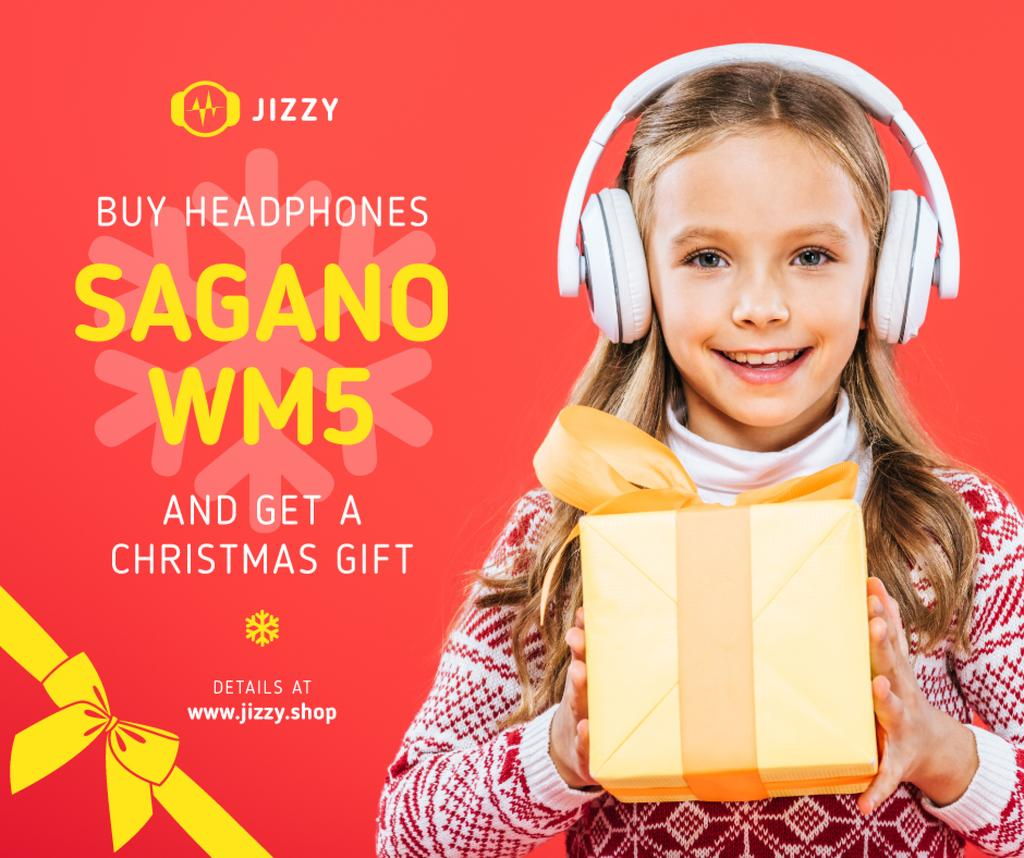 Christmas Offer Girl in Headphones with Gift | Facebook Post Template — Crear un diseño