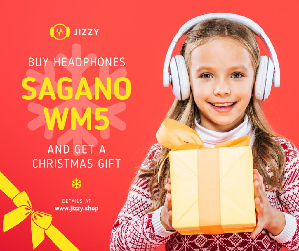 Christmas Offer Girl in Headphones with Gift — Modelo de projeto