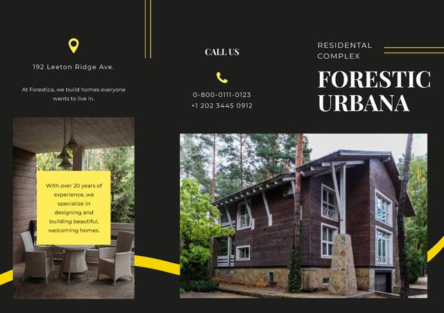 Modern Wooden Residential Complex among the Forest Ad Brochure Modelo de Design
