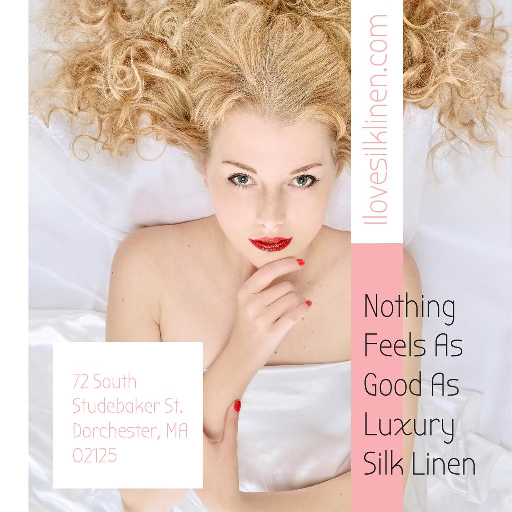 Luxury silk linen Ad with Tender Woman — Créer un visuel