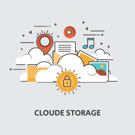 Cloud service with computers icons Animated Post – шаблон для дизайна