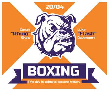 Boxing Match Announcement Bulldog on Orange | Large Rectangle Template