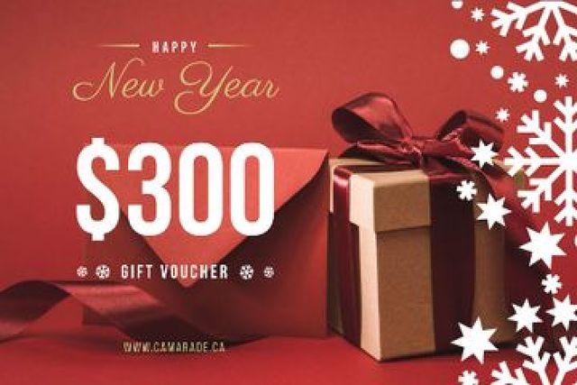 Designvorlage New Year Gift Box in Red für Gift Certificate