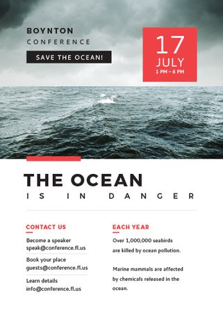 Ontwerpsjabloon van Invitation van Ecology Conference Stormy Sea Waves