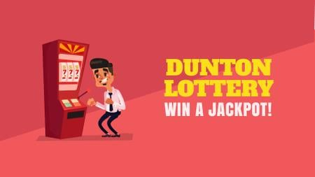 Ontwerpsjabloon van Full HD video van Lottery Promotion Man Winning on Slot Machine