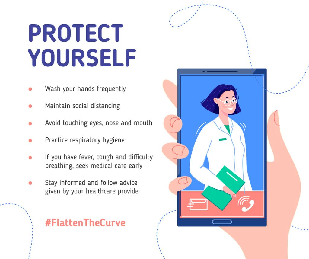 #FlattenTheCurve Preventive Recommendations with Doctor on screen —デザインを作成する
