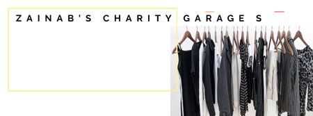 Plantilla de diseño de Charity Sale Announcement with Black Clothes on Hangers Facebook cover