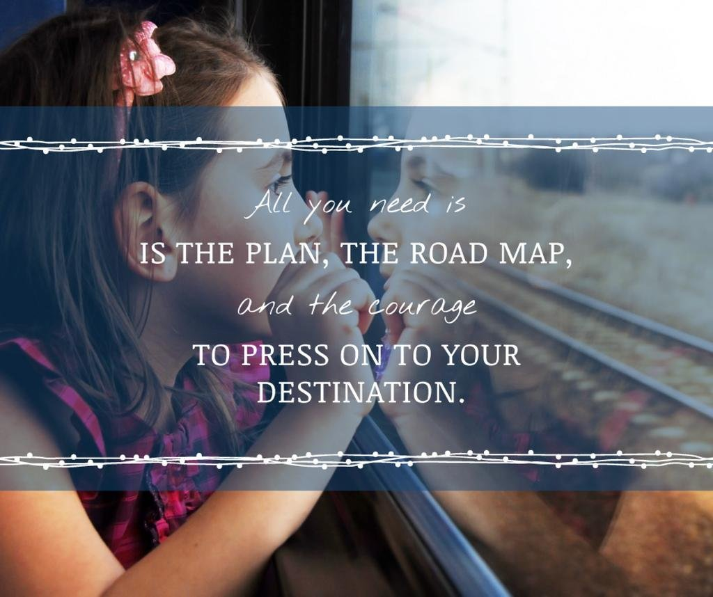 Motivational Quote Girl Looking in Train Window —デザインを作成する