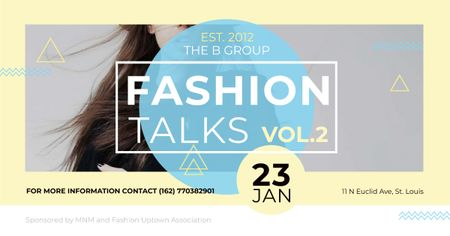 Fashion talks Annoucement with Stylish Girl Facebook AD Modelo de Design