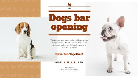 Ontwerpsjabloon van FB event cover van Dogs Bar Ad with Cute Pets
