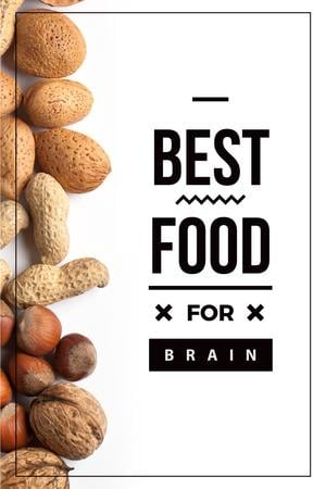 Modèle de visuel Best food for brain Quote with nuts - Pinterest