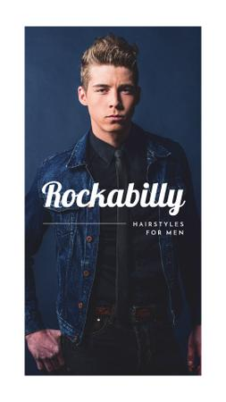Man with rockabilly hairstyle Instagram Story Modelo de Design