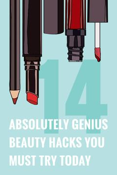Beauty Hacks Cosmetics Set in Red | Pinterest Template