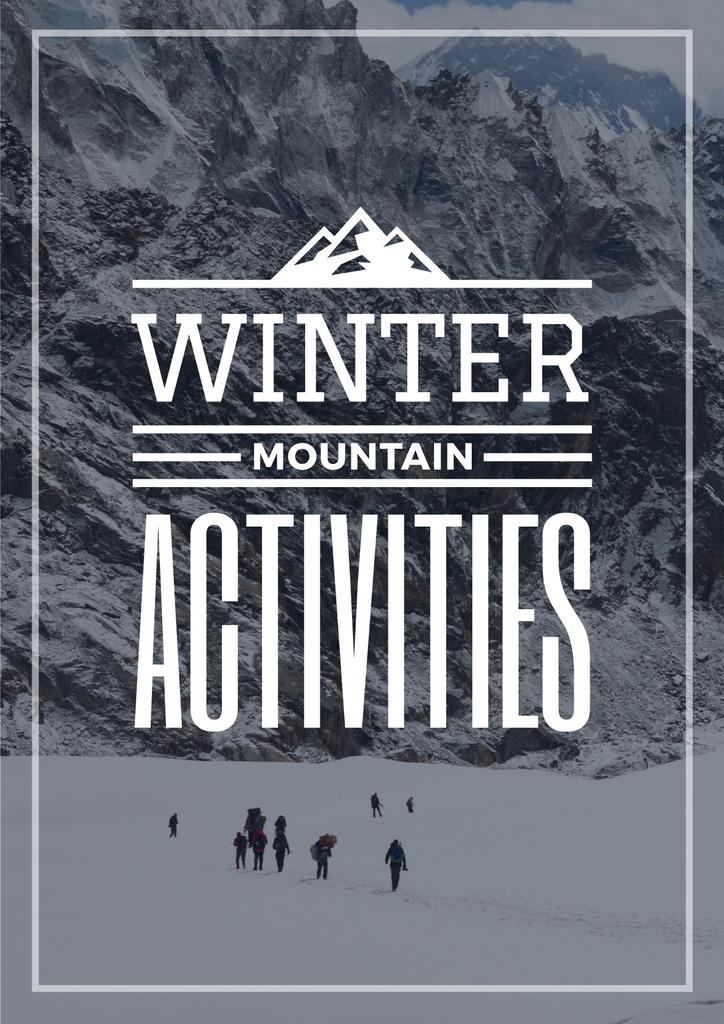 Winter Activities Inspiration People in Snowy Mountains | Poster Template — Створити дизайн
