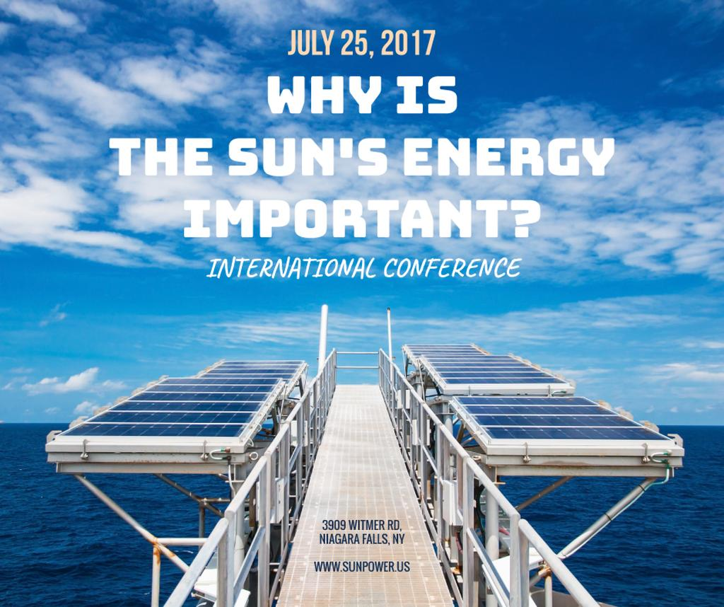 Sun Energy Conference Invitation Solar Panels View | Facebook Post Template — Maak een ontwerp