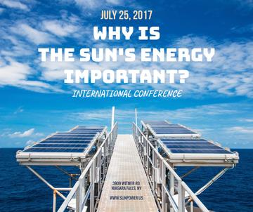 Sun Energy Conference Invitation Solar Panels View | Facebook Post Template