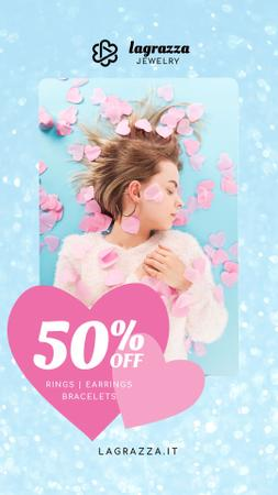 Designvorlage Jewelry Sale Woman in Pink Hearts für Instagram Video Story