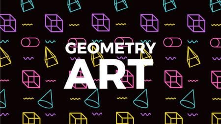 Moving Geometric Figures on Black Full HD video Modelo de Design