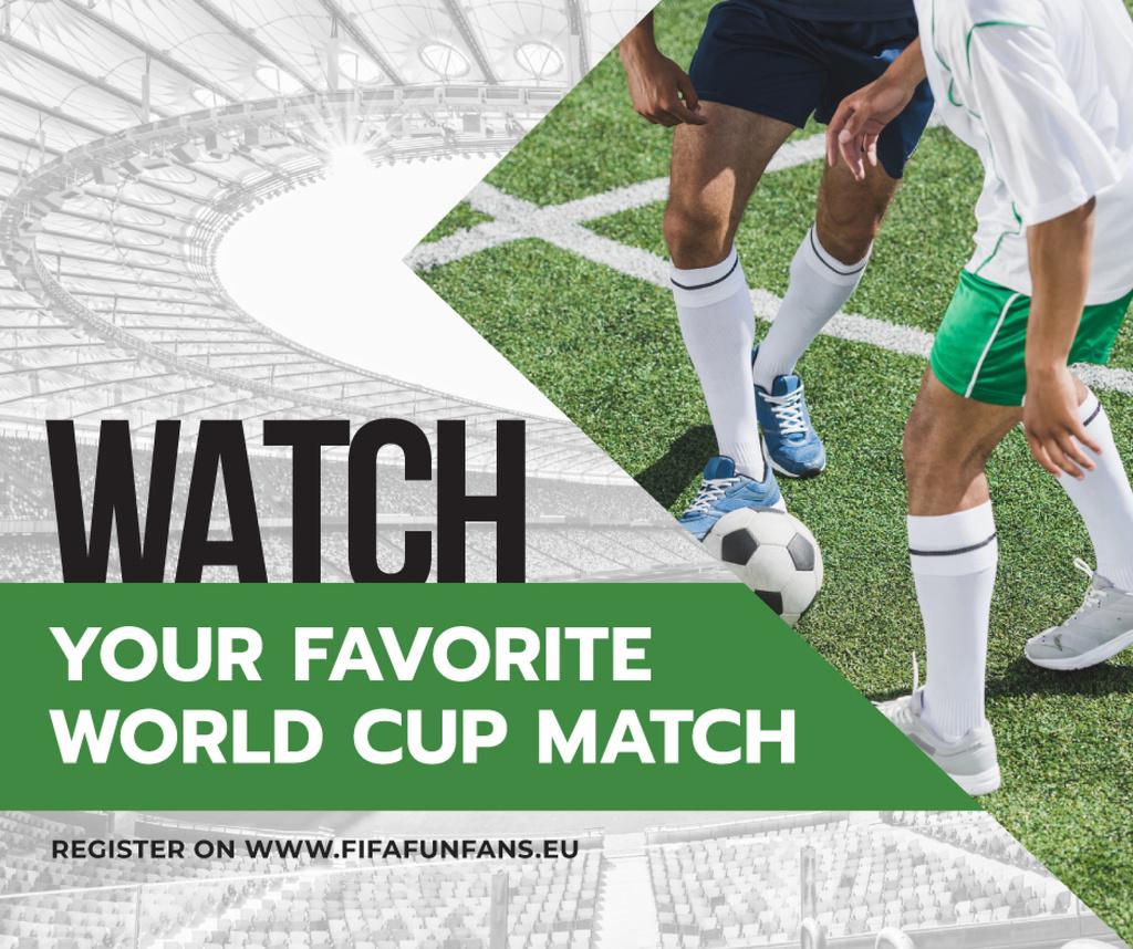 Plantilla de diseño de Soccer Match Announcement Players on Field Facebook