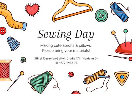Sewing day event with needlework tools Postcardデザインテンプレート