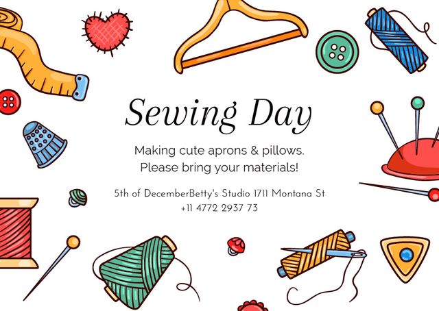Sewing day event with needlework tools Postcard Tasarım Şablonu
