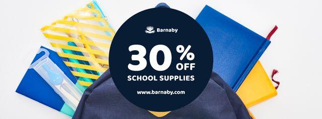 Ontwerpsjabloon van Facebook cover van School Supplies Sale Stationary in Backpack