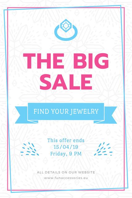 Jewelry Sale Advertisement with Shiny Chrystal Pinterest Modelo de Design