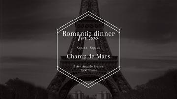Romantic dinner in Paris invitation on Eiffel Tower